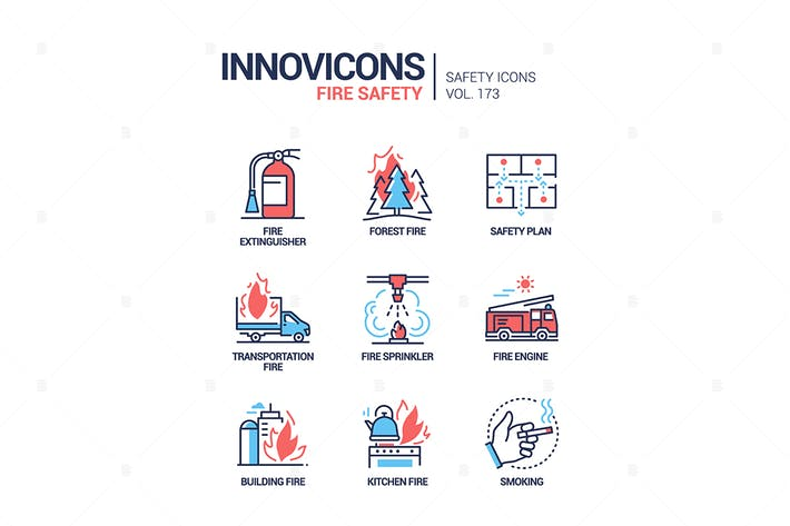 Thumbnail for Fire safety - modern line design style icons set