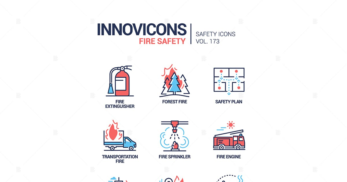 Download Fire safety - modern line design style icons set by BoykoPictures