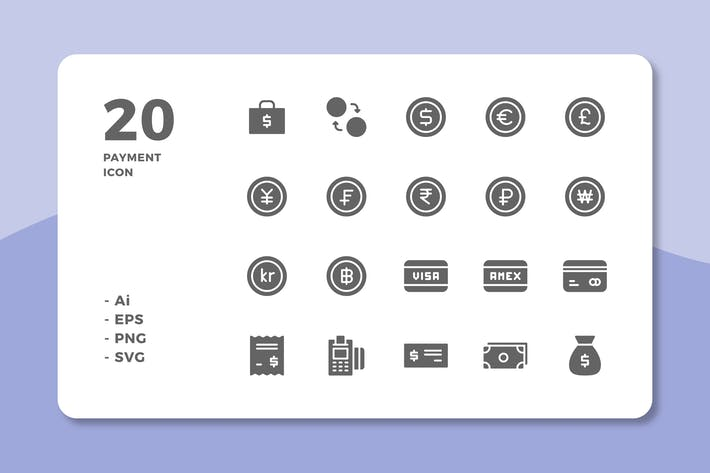Thumbnail for 20 Payment Icons (Solid)