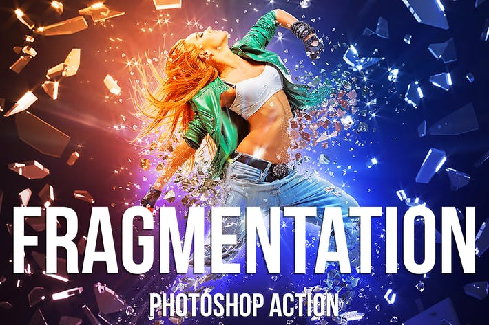 Thumbnail for Fragmentation - Shattered Glass Photoshop Action