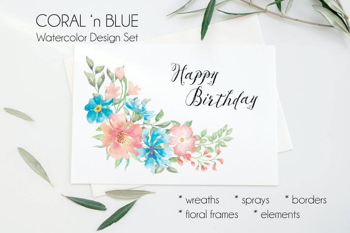 Thumbnail for Coral 'n Blue Watercolor Clip Art Collection