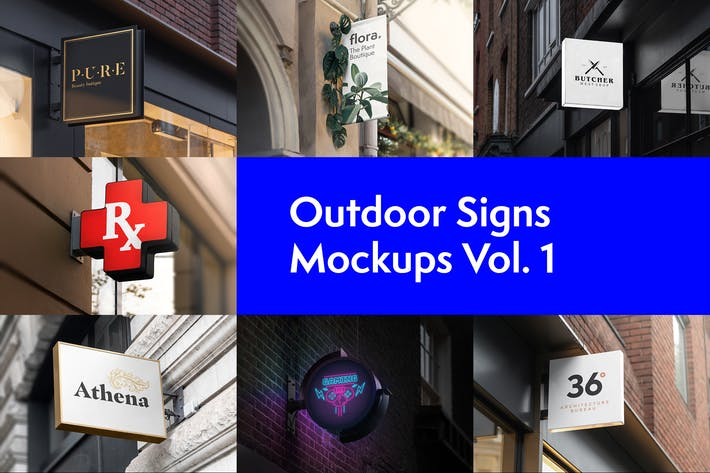 Thumbnail for Outdoor Signs Mockups Vol. 1