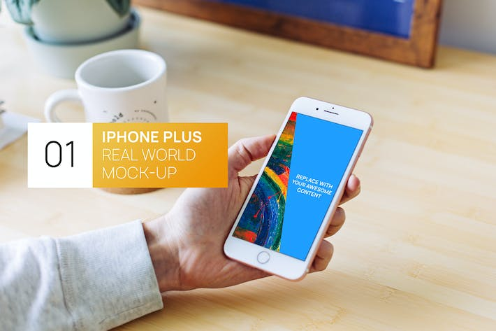 Thumbnail for iPhone Plus in hand office Real World Mock-up
