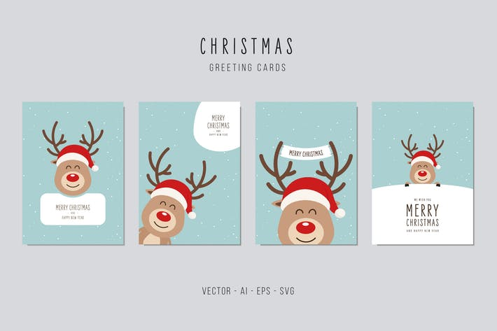 Thumbnail for Christmas Reindeer Greeting Vector Card Set