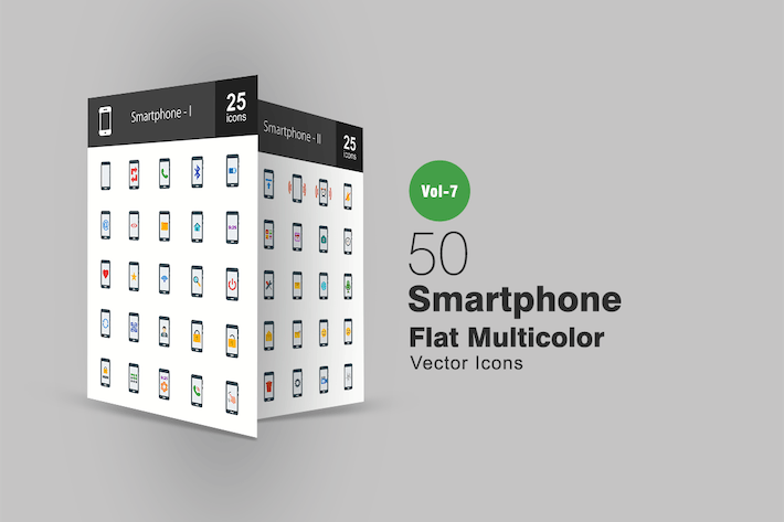 Thumbnail for 50 Smartphone Flat Multicolor Icons