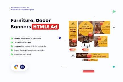 Furniture, Decor Banners HTML5 Ad