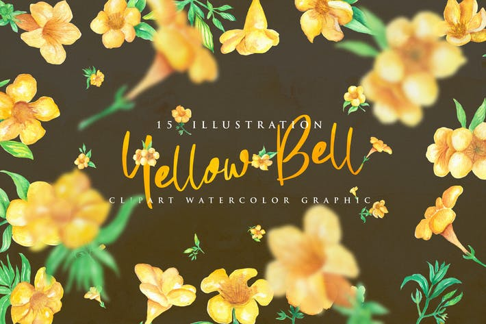Thumbnail for 15 Watercolor Yellow bell Flower Illustration