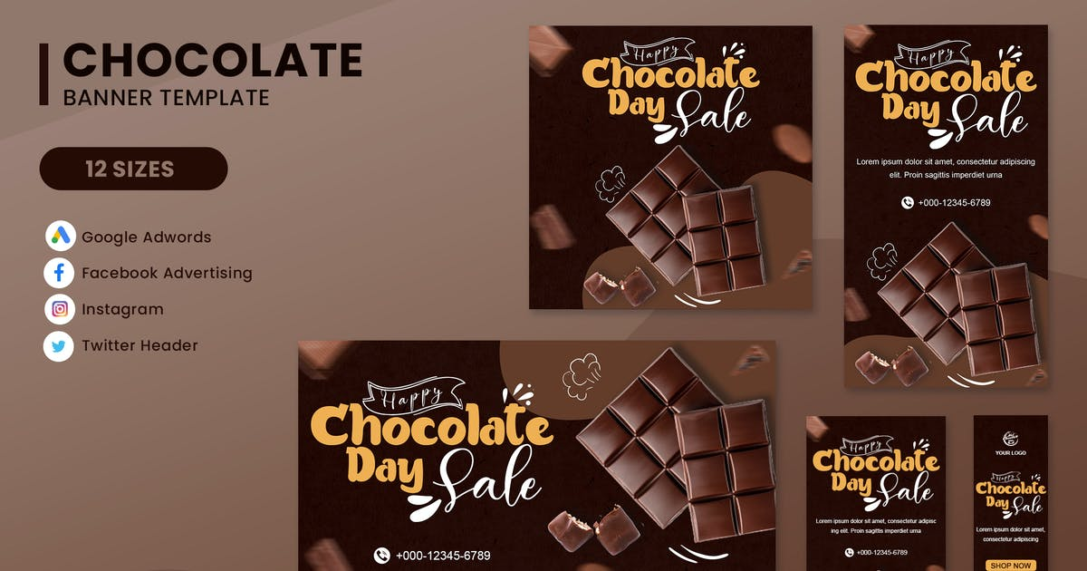 Download Chocolate Banner Ads Set Template by nanoagency