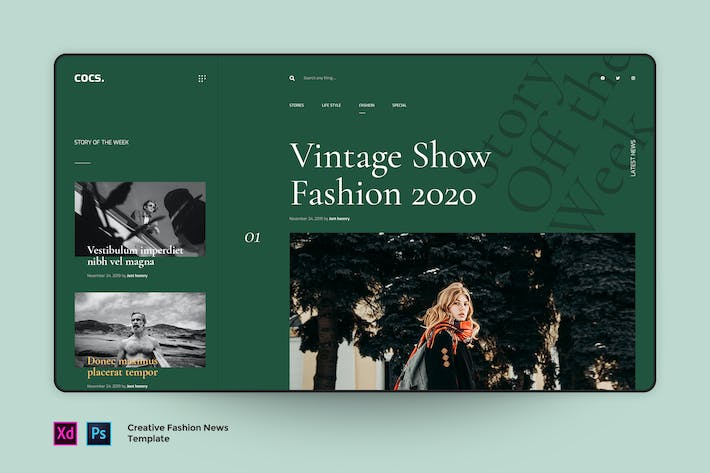 Cover Image For Cocs - Magazine Fashion landing page template