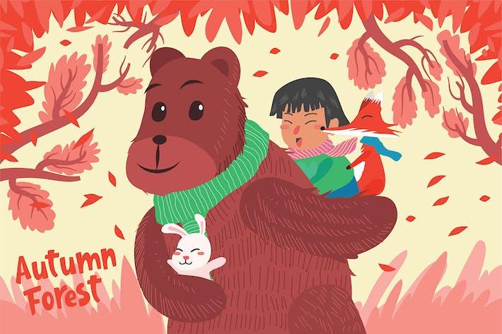 Herbstwald - Vektor illustration
