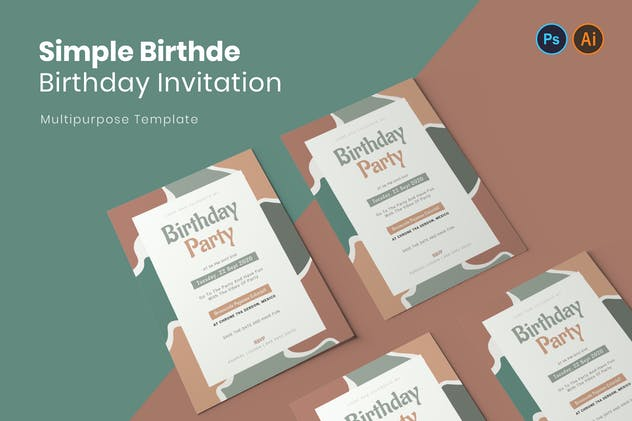 Simple Birtdhe Birthday Invitation