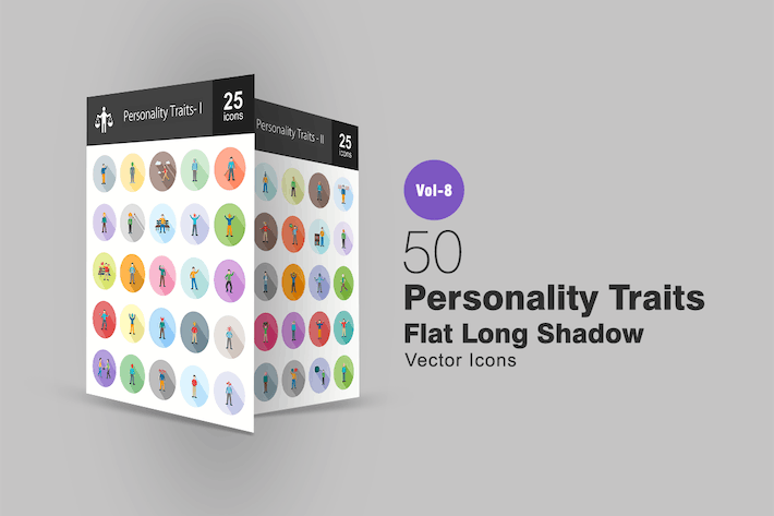 Thumbnail for 50 Personality Traits Flat Shadowed Icons