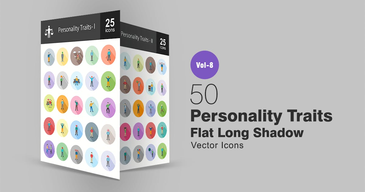 Download 50 Personality Traits Flat Shadowed Icons by IconBunny