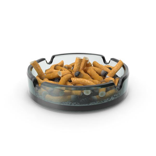 Glass Ashtray Filled With Ash and Cigarettes