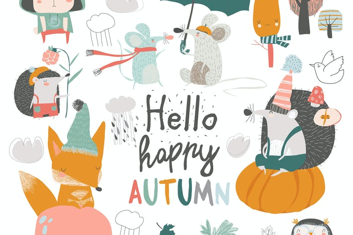 Cover Image For Fall set with cute forest animals in cartoon style