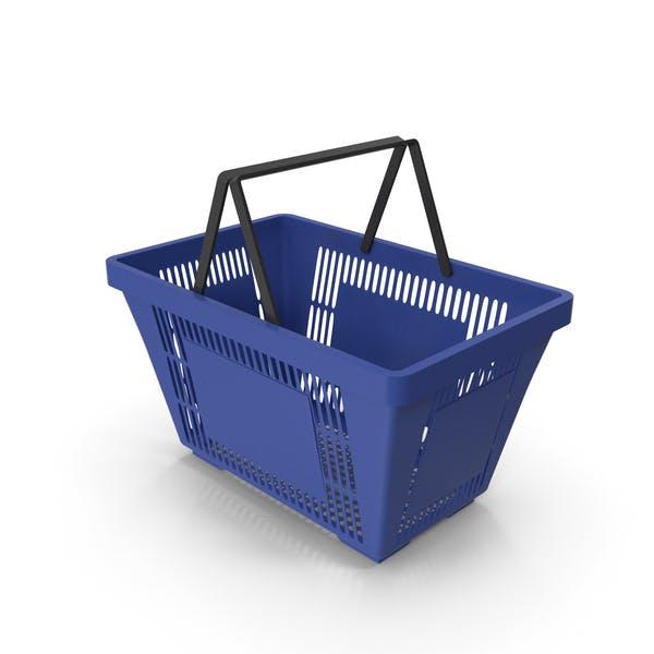 Синяя корзина для покупок с пластиковыми ручками