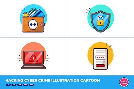 Hacking Cyber Crime Illustration Cartoon