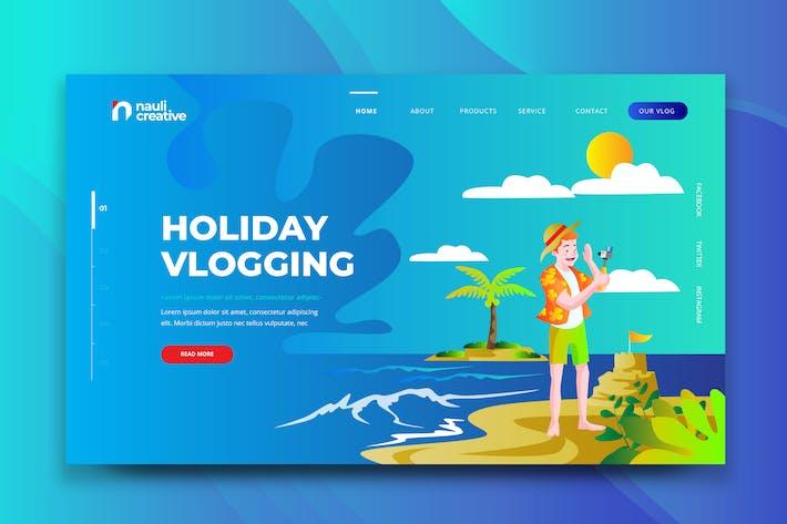 Thumbnail for Праздничный Vlogging Web PSD и Вектор Шаблон AI