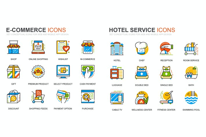 Thumbnail for E-Commerce and Hotel Services Line Icons Set