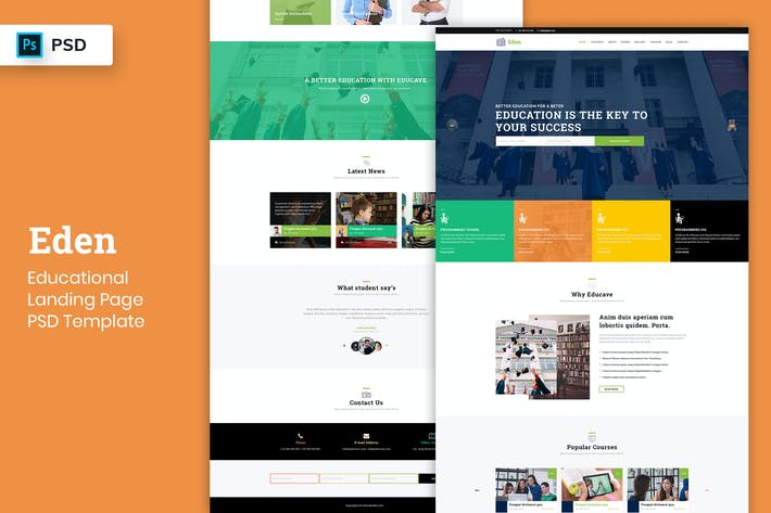 Thumbnail for Educational - Landing Page PSD Template