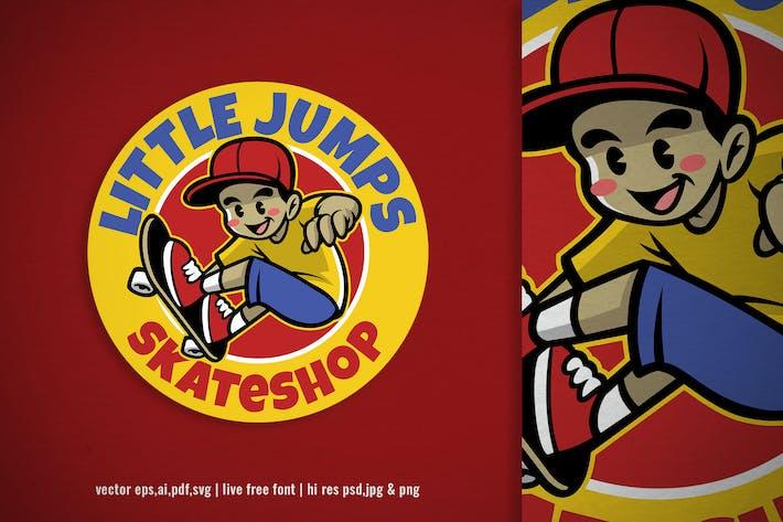 cartoon skater kid skateboard logo