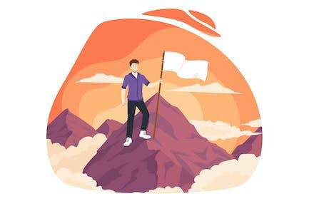 Hombre ganador con bandera en la cima de la montaña. Victoria.