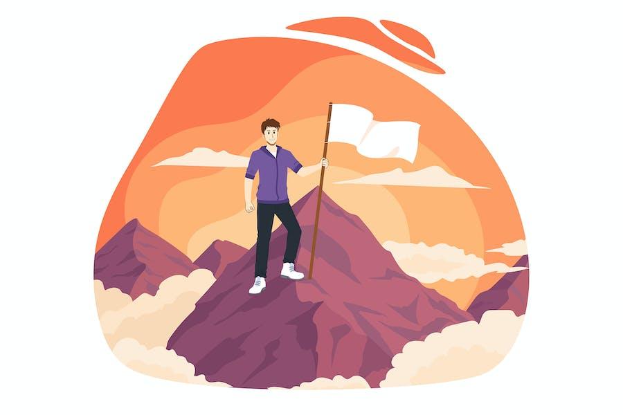Winner man with flag on mountain peak. Victory.