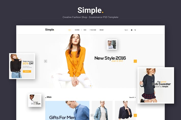 Thumbnail for Simple - Ecommerce PSD Template
