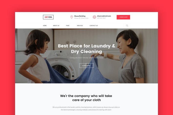 Thumbnail for Dryco- Laundry, Dry Cleaning Services PSD Template