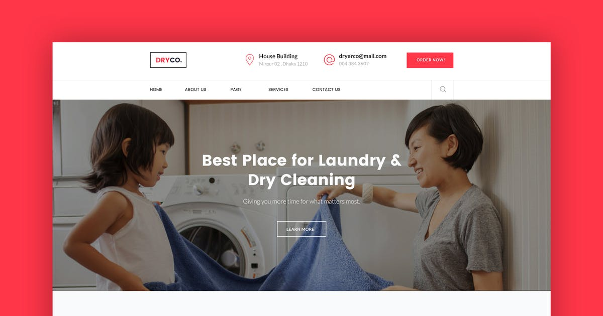 Download Dryco- Laundry, Dry Cleaning Services PSD Template by CreativeGigs