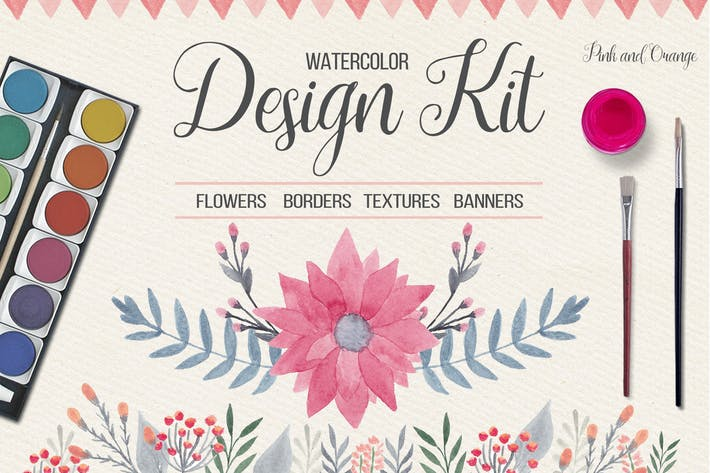 Thumbnail for Watercolor Floral Design Kit