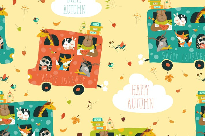Thumbnail for Cute animals seamless pattern traveling by bus