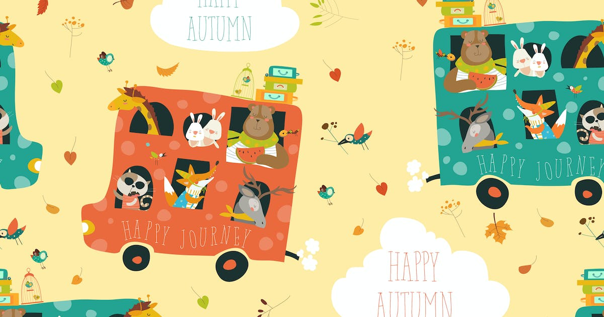 Download Cute animals seamless pattern traveling by bus by masastarus