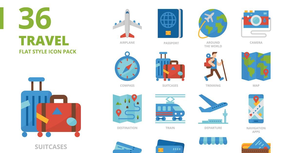 Download Travel Flat Style Icon Set by monkik
