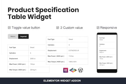 Product Specification Table Widget For Elementor