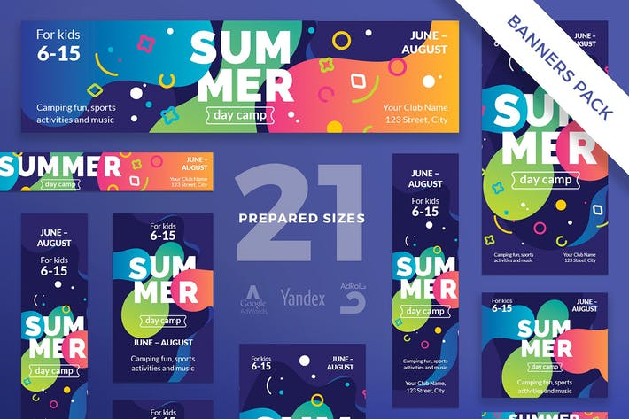 Thumbnail for Summer Camp Banner Pack Template