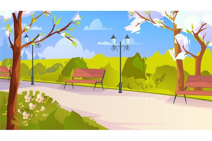 City Park At Springtime - Illustration Background