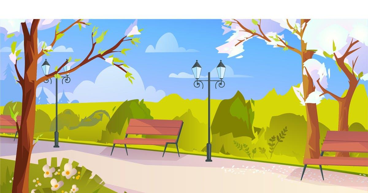 Download City Park At Springtime - Illustration Background by DesignSells