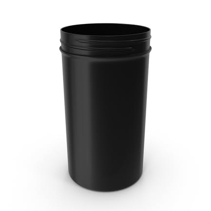 Plastic Jar Wide Mouth Straight Sided Tall 32oz Without Cap Black