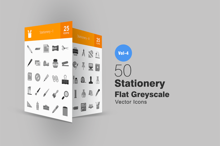 Thumbnail for 50 Stationery Greyscale Icons