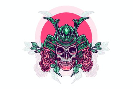skull samurai with rose illustration