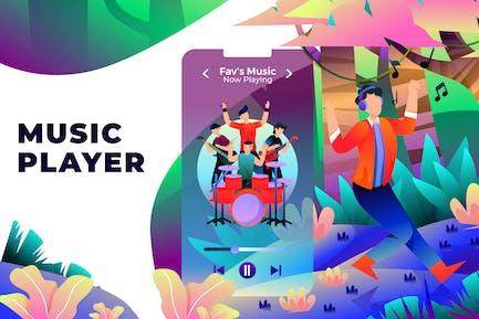 Music Player - Vector Illustration