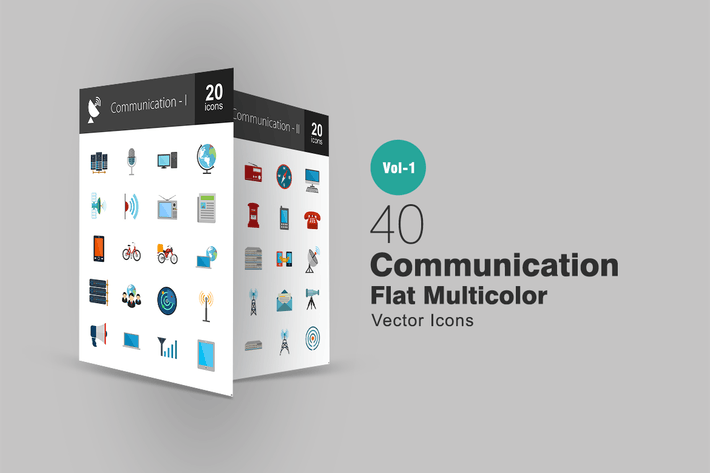 Thumbnail for 40 Communication Flat Multicolor Icons
