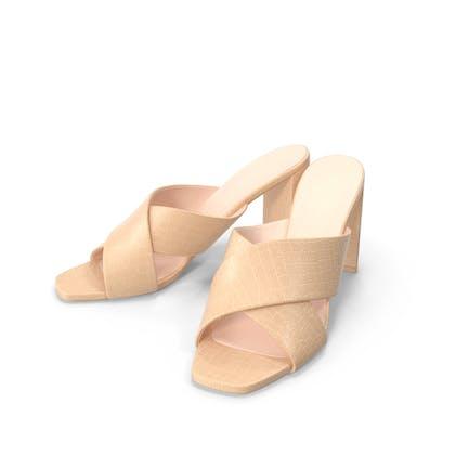 Women's Shoes Mules Beige Crocodile Leather