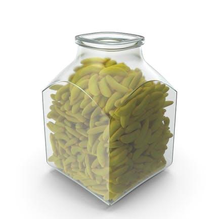 Quadratisches Glas mit Gummibananen