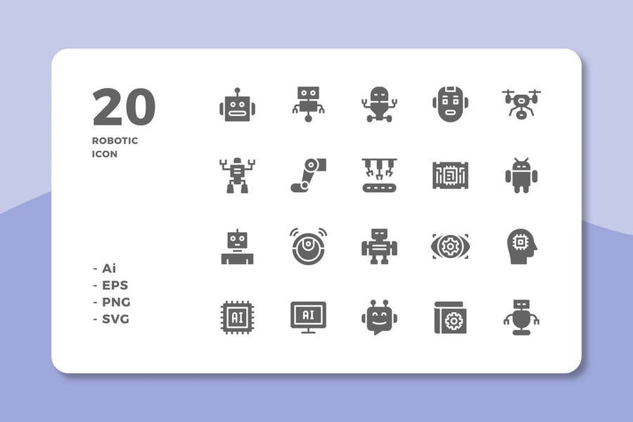 20 Robotic Icons (Solid)