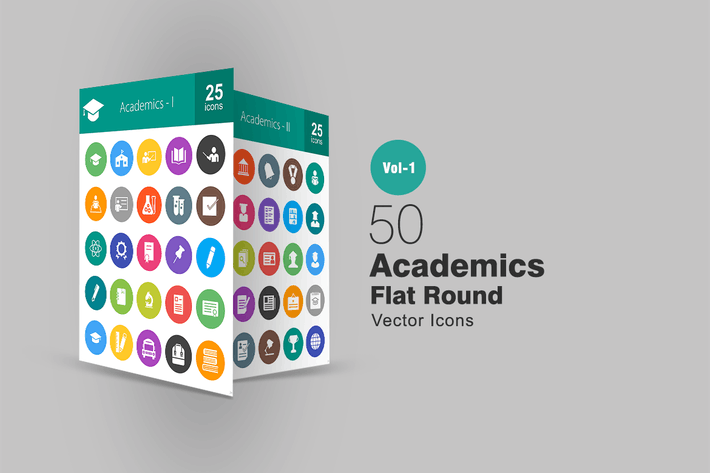 Thumbnail for 50 Academics Flat Round Icons