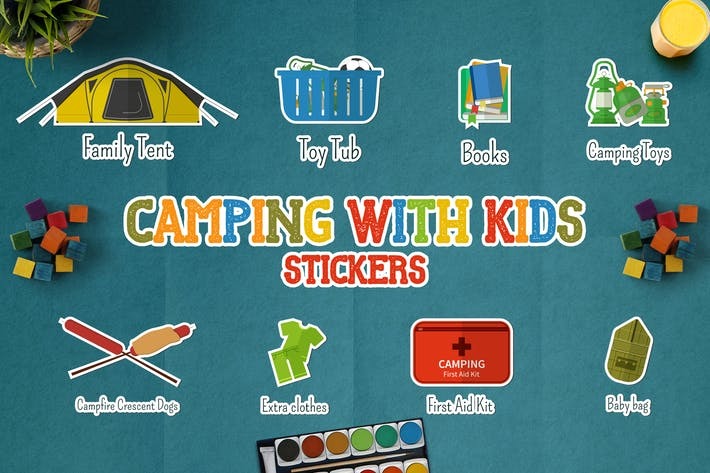 Thumbnail for Camping With Kids Stickers / Icons and Logos