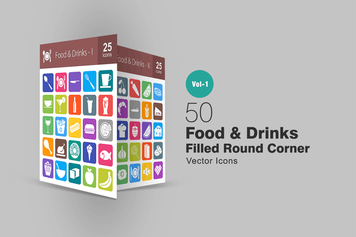 Cover Image For 50 Food & Drinks Filled Round Corner Icons