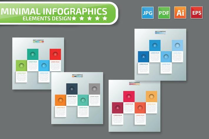 Thumbnail for Minimal 4 step infographic Design